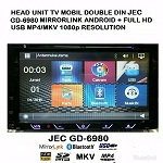 HEAD UNIT TAPE MOBIL TV MOBIL DOUBLE DIN JEC GD-6980 MIRRORLINK FULL HD