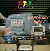 tv mobil model headrest touchscreen tv/dvd/usb/game merk Tanaka MH-709DVD